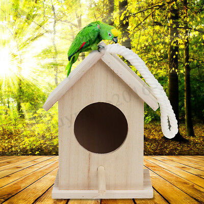 Wooden Bird House Birdhouse Hanging Nest Nesting Box with Rope Home Garden