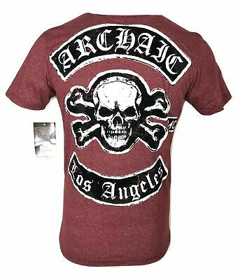ARCHAIC by AFFLICTION Mens T-Shirt KING Cross Skull Wings MMA Biker Gym S-2X $40