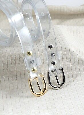 """Woman skinny 3/4""""(20mm) belt(265rd)transparent clear w/gold,silver color buckle"""