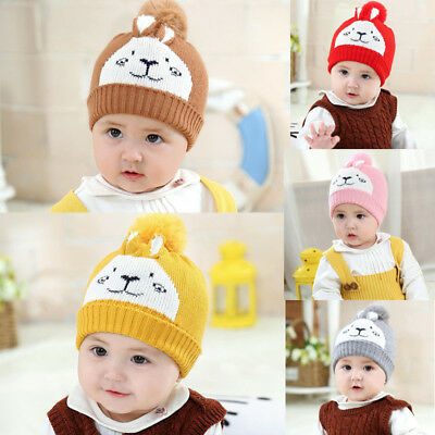 2018 Warm Hat Newborn Baby Kids Boy Girl Knit Beanie Hat Fur Pom Crochet Cap US