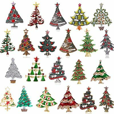 Merry Christmas 22 Styles Tree Crystal Brooch Pin Party Gifts Broach Badge HOT