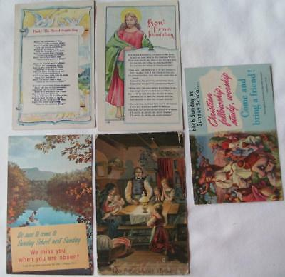 Lot of 5 Vintage Religious postcards How Firm A Foundation #34-c
