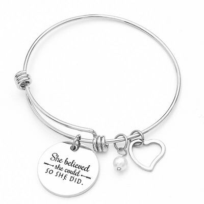 Stainless Steel Silver Letter Cuff Bangle Bracelet Mother's Day Family Jewellery