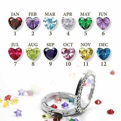12pcs Months Birthstones Heart Floating Charms For Living Memory Locket Necklace