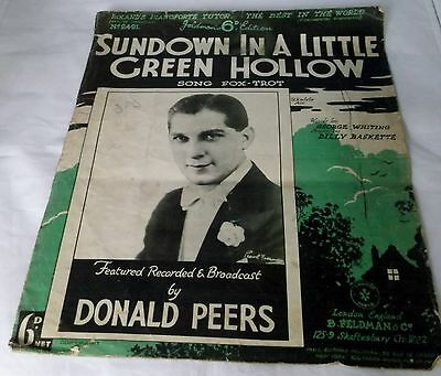 VINTAGE 1933 SHEET MUSIC 'SUNDOWN IN A LITTLE GREEN HOLLOW' No. 2491