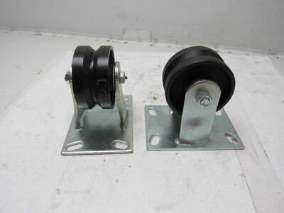 """1/4 x 2"""" Cast Iron V-Groove Floor Caster Track Wheel 5-3/4"""" Tall Lot Of 2"""