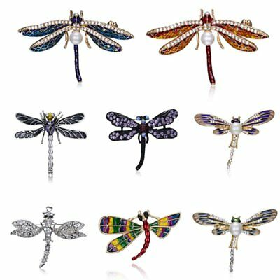 Fashion Dragonfly Animal Pearl Crystal Brooch Pin Womens Costume Jewelry Gift