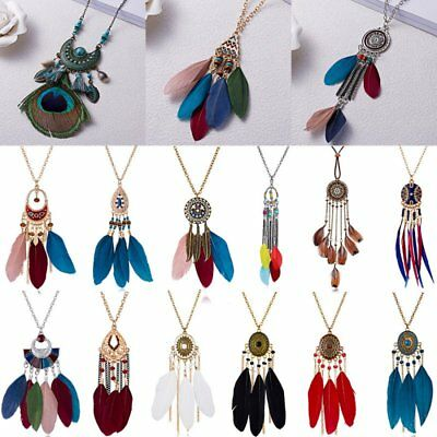 Vintage Womens Boho Feather Pendant Long Chain Necklace Beads Tassel Jewellery