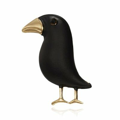 Crow Brooch Black Paint Bird Animal Brooches Men Womens Costume Collar Gifts HOT