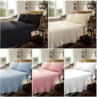 Flannel Sheet Set 100% Brushed Cotton Flannel Fitted Flat Sheet & Pillowcase
