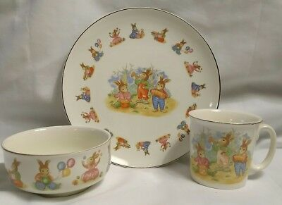 Vintage Childrens Plate Cup Bowl Bunny Band Mount Clemens Pottery Lil Bunny