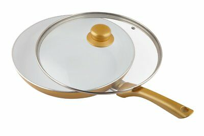 Ceramicore 24 cm Non-Stick Ceramic Induction Compatible Sauté Pan in Gold X6