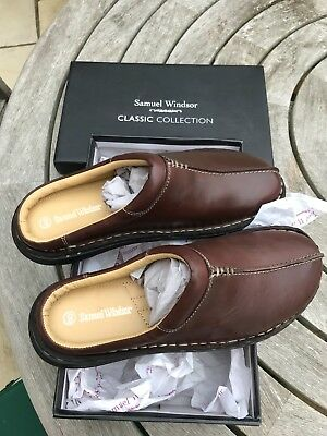 Mens Leather Slippers - Samuel Windsor - Brown - Size 9 - New In Box