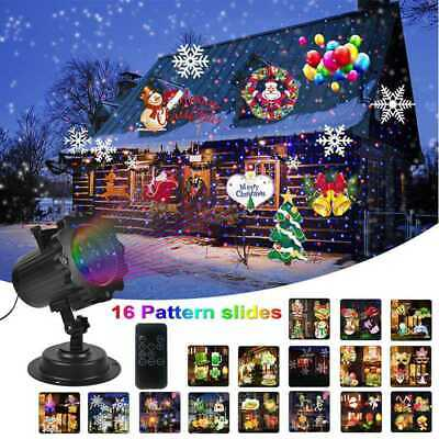 12/16 Types Christmas Laser Snowflake Projector Outdoor LED Lamps Garden Decor