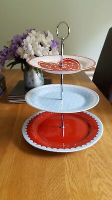 3 Tier Cake Stand Vintage Red White Blue Cakes Afternoon Tea Ashley Thomas