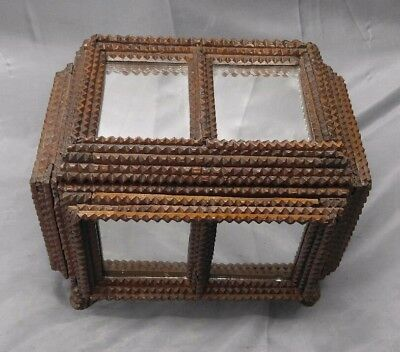 Antique Old Vintage Hobo Tramp Art Wooden Mirrored Box