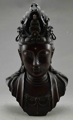 Collectible Decorated Old Handwork Copper Carved Big Kwan-yin Head Statue f02