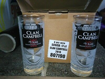Clan Campbell Campbell's whiskey WHISKY 6 Verres 17 cl NEUF