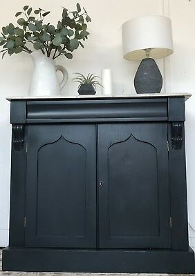 Victorian Marble Top Chiffonier - Farrow & Ball Railings - Home Sweet Home Store
