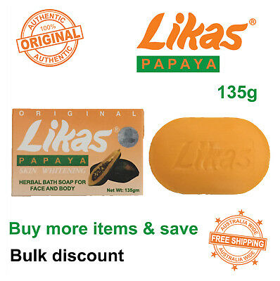 Likas Papaya Skin Whitening Herbal Soap Bar 135g Original - Bulk Discount Sale