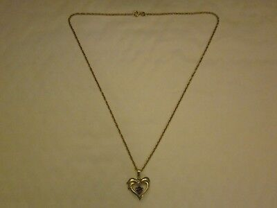 """Gold On Silver Heart Pendant With Floating Amethyst & 18"""" Chain * Hallmarked *"""