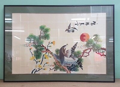 Framed Embroidered Textile Picture of Oriental Flying Geese in Garden #SG2