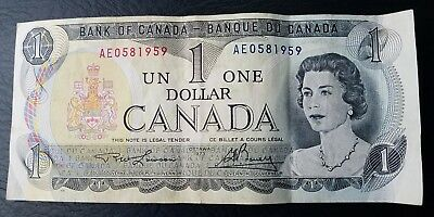 1973 Miscut Error Canadian Canada 1 Dollar Note Bill low srl# AE0581959