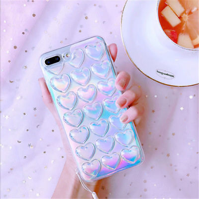 3D Cute Shining Love Heart Soft Case Transparet Cover for iPhone X 8 7 6 6s Plus