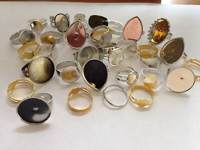 Job Lot Ring Blanks - Different Shapes / Sizes, Gold, Silver, Bronze Plated