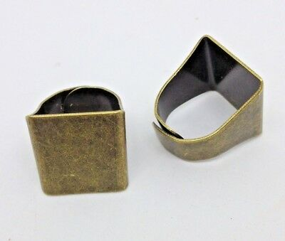 2 x Chunky Bronze Plated Ring Blanks - 20 x 17 mm  pad - Adjustable