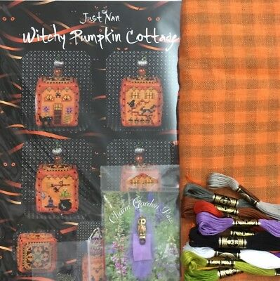 Just Nan Cross Stitch Witchy Pumpkin Cottage KIT Weeks gingham linen owl pin dmc