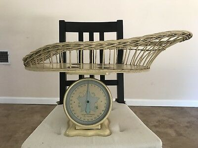 Vintage Baby Scale 30lbs with Wicker Basket
