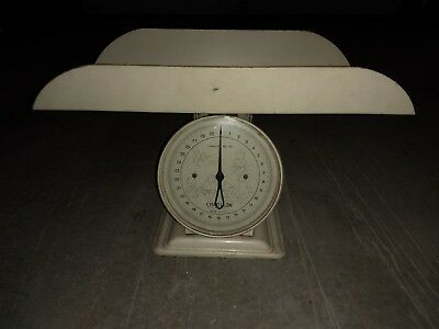 Vintage Antique Mechanical Metal Nursery Baby Scale 30lb Ounces Chatillion