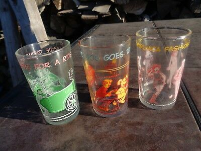 Vintage 1971 Welch's Archie Comic Jelly Jar Juice Glasses Lot Of 3