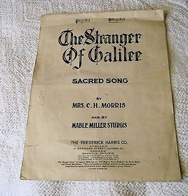 VINTAGE 1933 SHEET MUSIC 'THE STRANGER IN GALILEE' (sacred song)
