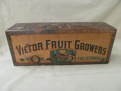 Wooden Victor Fruit Growers, CA Box covered w Antique Pressed Tin Crown Moulding