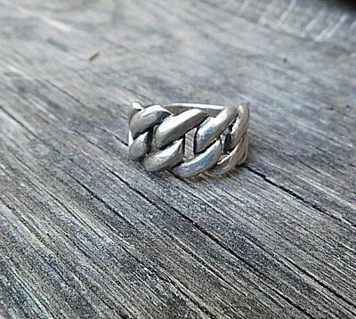 Vintage Sterling Silver Solid Heavy Weave Criss Cross Chain Style Men's Ring