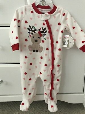 NEW Koala Baby Pajamas Fleece Baby  Girls Christmas Santa Bodysuit 6-9 m