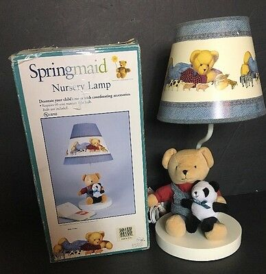 Springmaid Teddy Bear Nursery Lamp and Shade In Original Box North American Bear