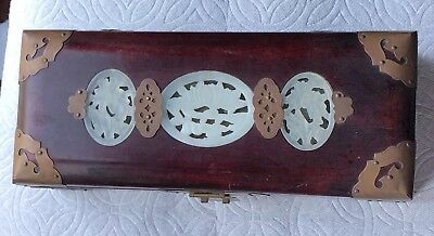 Chinese White Jade Red Wood Jewelry Trunk Box With Lock