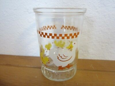 Vintage White Duck & 6 Yellow Ducklings Bama Jelly Jam Juice Glass