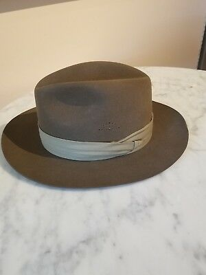 Banana Republic Brown 100% Fur Mens Fedora Size 7 1/4 In Dobbs Hat Box