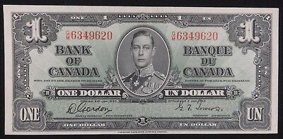 1937 Bank of Canada 1 One Dollar KM# 58 AU / Unc Banknote Currency