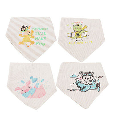 4pcs Cotton Baby Toddler Bib Animal Hippo Print Infant Burp Feeding Bibs Kit CB