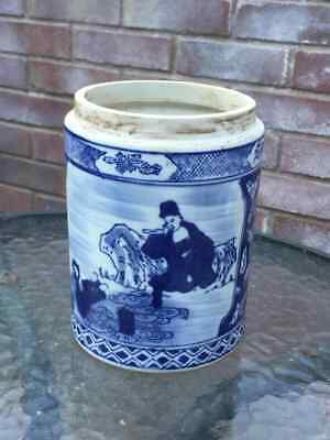 Vintage Chinese Blue and whit brush pot /jar