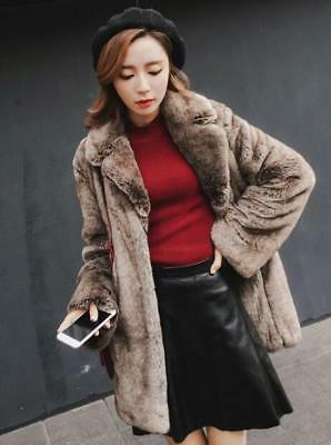 Womens Girls Faux Fur Lapel Parka Brown Jacket Thicken Warm Outwear Coat HOT F67