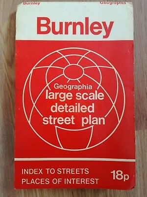Vintage Geographia Large Scale Detailed Street Plan- Map Of Burnley- Early 70's