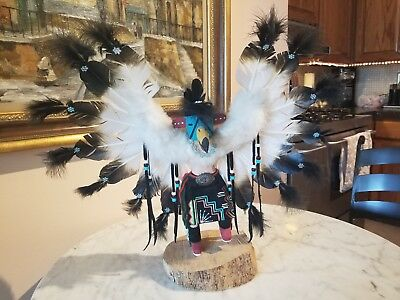 Hand Crafted Native American Kachina Eagle Dancer Black Leather By Alta Apachito