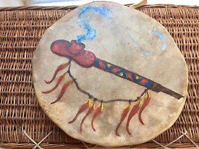 LARGE VINTAGE NATIVE AMERICAN INDIAN DRUM - Cow Or Buffalo Hand Painted & Tied