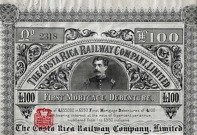 The Costa Rica Railway Company Limited., 1887,  First Mortgage Debenture (100)